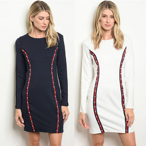 Dresses - Sexy bodycon long sleeve dress Pearl details Ivory